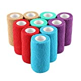 10 Rolls 10CM Self Adherent Bandage Cohesive Bandage Elastic Adhesive Bandage Tape First Aid Pet Cohesive Wrap Bandages for Wrist, Ankle Sprains & Swelling