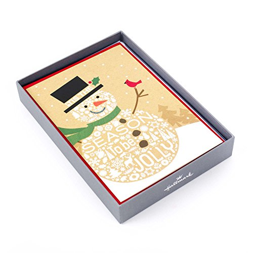 Hallmark Boxed Holiday Cards, Jolly Snowman (16 Cards and 17 Envelopes)