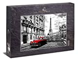 Ulmer Puzzleschmiede - Puzzle 'París': Puzzle de 1000 piezas - Motivo nostálgico de París en blanco y negro con coche rojo, Torre Eiffel al fondo