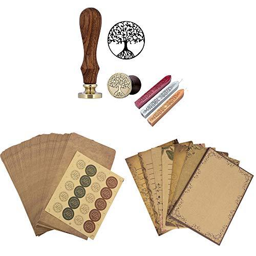 Mogokoyo Schreiben Set- Retro Briefpapierset (56 Blatt Altes Papier + 50 Umschläge + 20 stück Aufkleber) + Vintage-Stil Wachs Siegelstempel mit verschidene Gravur (Lebensbaum)