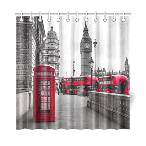 Yeuss Vintage Shower Curtain by Fabric Bathroom Decor Set with Hooks Taupe Beige 60x72 London Big Ben Historical Architecture Westminster Bridge Retro Town Illustration