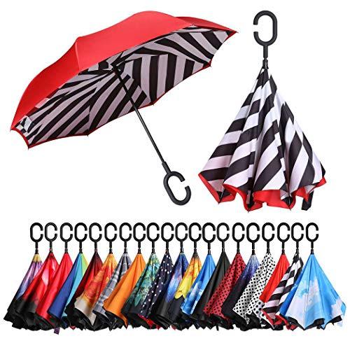 Eono by Amazon - Inverted Stockschirme, Winddicht Regenschirm, Reverse Stockschirme mit C Griff, Selbst Stehend, Double Layer, Schützen vor Sturm Wind, Regen und UV-Strahlung, Streifen