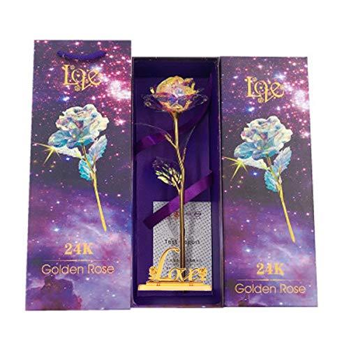 Kit de regalo de rosas de 24 K, rosa eterna, hecha a mano, fresca, para San Valentín, Día de la Madre, Navidad, aniversario, cumpleaños, día de Acción de Gracias (rosa regalo para mujeres 1)