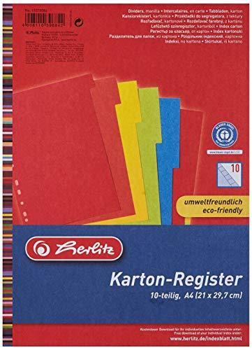 Herlitz 11078086 Register 10-teilig, A4, farbintensiver Manilakarton