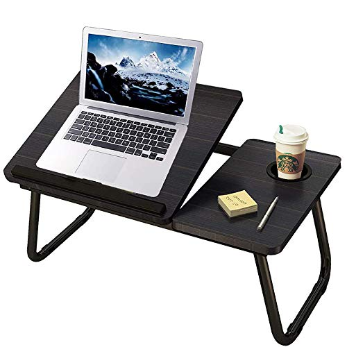 Bed Desk with Cup Holder, Laptop Table for Bed Adjustable Portable Computer Tray for Bed,INNOLV Foldable Stands Laptop Desk for Writing Multifunctional Laptop Bed Tray for Bed and Sofa Couch