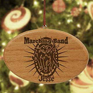 "GiftsForYouNow Engraved Marching Band Wooden Oval Ornament, 4"" x 2.5"""