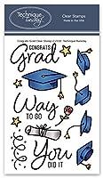 Congrats Grad クリアスタンプ | カード用卒業スタンプ | 透明ゴムスタンプ | フォトポリマースタンプ | カード作成用品 | スクラップブックスタンプ