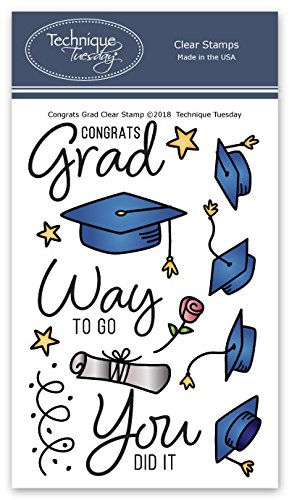 Congrats Grad Clear Stamps | Graduation Stamps for Cards | Clear Rubber Stamps | Photopolymer Stamps | Card Making Supplies | Scrapbooking Stamps