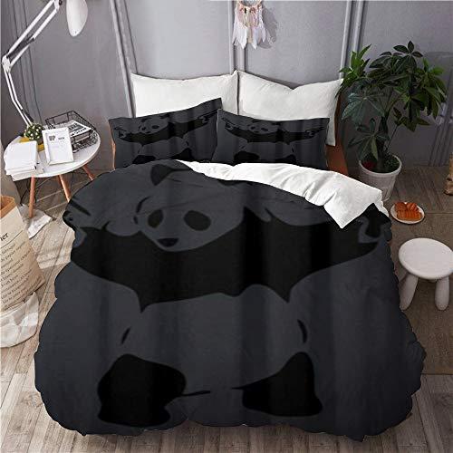 BEITUOLA bedding - Duvet Cover Set,Banksy Panda,Microfibre Duvet Cover Set 135 X 200cm with 2 Pillowcase 50 X 80cm