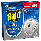 Raid Insecticides Ménagers Electrique Night/Day Set de 2 Recharges Mouches/Moustiques/Tigres 240 Heures - Lot de 2