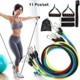 House of Quirk 11 Pcs Portable Fitness Exercise Bands with Handles, Training Tubes