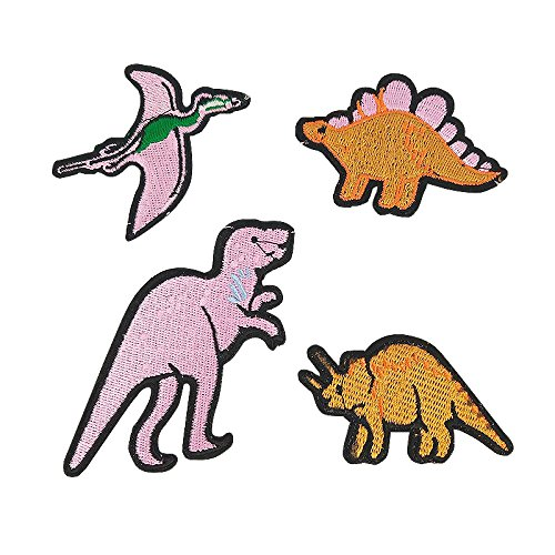 Libiline Kid Embroidered Patch Dinosaur Sew On/Iron On Patch Applique Clothes Dress Plant Hat Jeans Sewing Flowers Applique DIY Accessory (Dinosaur)