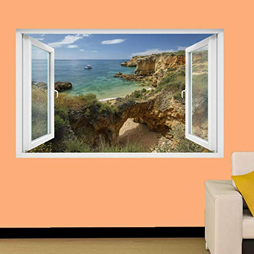 Wall Sticker Portugal sea Beach Boat Wall Stickers 3D Art Mural Stickers Home Office Decoration
