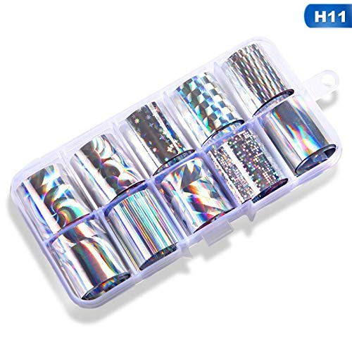 MEIYY Autocollant D'ongle 2.5 * 100Cm Nail Foil Set Transparent Noël Laser Série Transfert Autocollant Manucure Nail Art Stickers