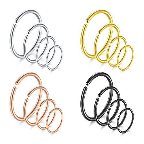 Rajnard 18G 6mm 8mm 10mm 12mm Nose Rings Fake Nose Ring Surgical Steel Cartilage Helix Tragus Earring Hoop Lip Piercing Jewellery for Women Men Mix Colors