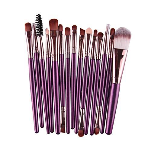 SDHF Maquillage Pinceaux fard à paupières Sourcils Cils Fondation Pinceau Poudre pinceaux de maquillage, 15pcs (Couleur : Purple Coffee, Size : One Size)