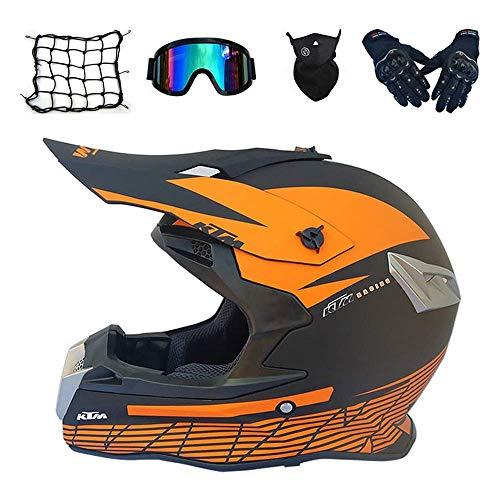 Casco de motocross para adulto, color naranja, casco integral de bicicleta de montaña con gafas y guantes máscara de red, Pro Moto Cross casco para todoterreno cuatriciclo, dljyy (color : A)