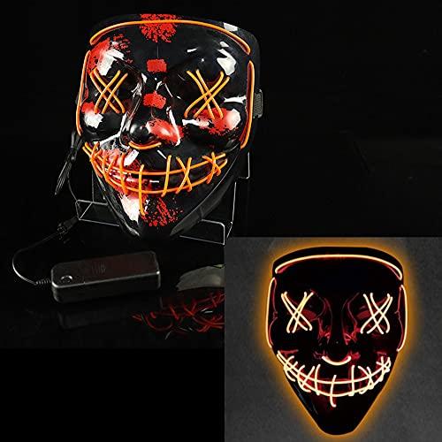 Beeptrum Máscara de payaso de Halloween, máscara facial LED con iluminación para disfraz de cosplay, material ajustable y respetuoso con el medio ambiente para hombres, mujeres y niños (naranja)