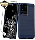 Galaxy S20 Ultra Case with Screen Protector[Not Glass],Dahkoiz Shockproof Galaxy S20 Ultra 5G Case Slim TPU Bumper Cover Flexible Carbon Fiber Protective Phone Case for Samsung Galaxy S20 Ultra, Blue