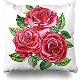 Fundas para Almohada,Gráfico Acuarela Rosas Ramo Rosa Roja Flor En Rosa Naturaleza Verde Floración Flor Botánico Brote Floral Moda Impresión Almohada Fundas