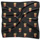90ioup - Fazzoletto Quadrato da Donna, Motivo Patatine Fritte, Fazzoletto, Bandana, Sciarpa per Capelli, Poliestere, Bianco, Medium