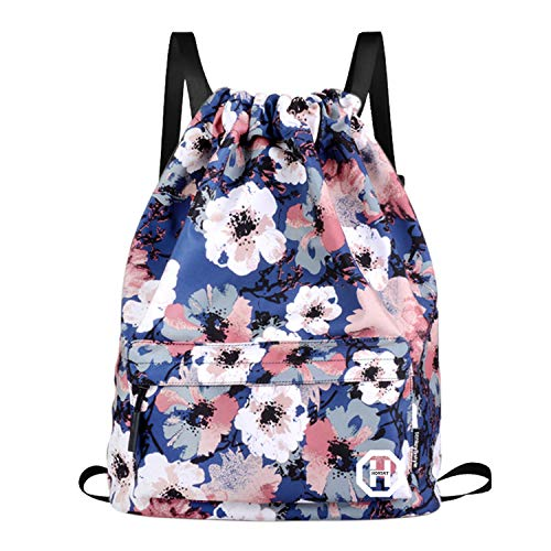 Sport Swimming Yoga Drawstring Backpack  Horsky Anime Leaf Shoulder School Bag Lightweight for Students Teens Boy Girl Travel Camping 35 L Plum Blossom