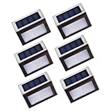 Asvert Lámpara de Pared Solar 6 pcs LED Apliques Solares para Exterior Impermeable IP44 de Material PC+ABS+Acero Inoxidable para Jardín Escalera