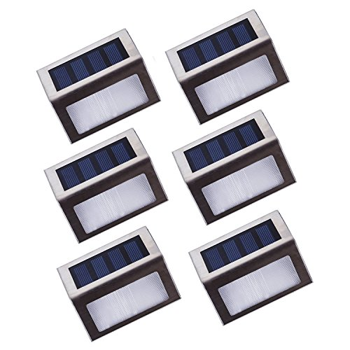 Asvert Apliques Solares para Exterior 6 pcs LED Lámpara de Pared Solar Impermeable IP44 de Material PC+ABS+Acero Inoxidable para Jardín Escalera