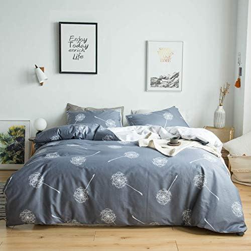 YuHeGuoJi 3 Pieces Duvet Cover Set 100 Cotton King Size Gray Dandelion Floral Bedding 1 White product image