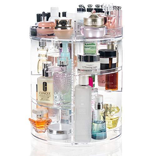 Display4top Organizador del Maquillaje 360° Puede-Girar, Caja de almacenamiento de gran capacidad, adecuada para joyería, perfume, brocha de maquillaje, lápiz labial y más (Transparente A)
