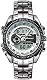 TAHMM Orologio Sportivo Digitale Calendario in Acciaio Inox Calendario cronografo Chronograph Allarm LED Doppio Display Digital Orologio Digitale (Colore: 01, Dimensione: Taglia Unica)