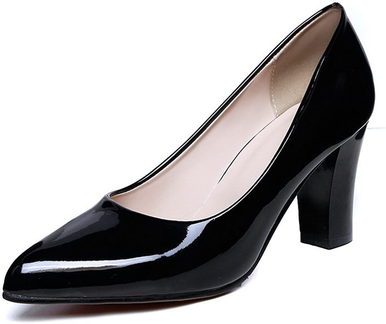 A&N Ladies Chunky Heels Pointed-Toe Low-Cut Uppers Urethane Pumps-shoes