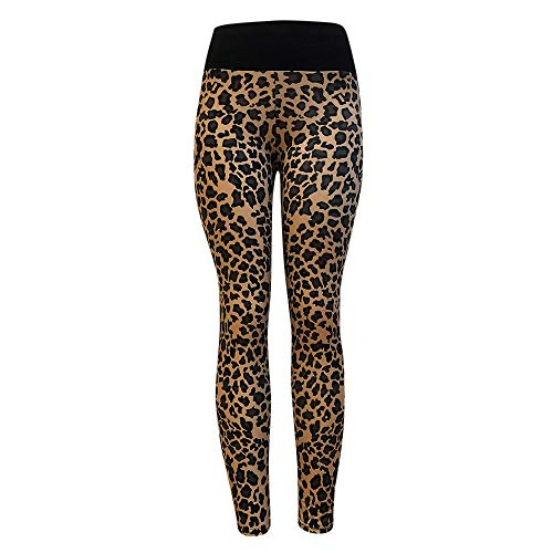OYSOHE Damen Leggings Yoga Sport Leopard Print Lang Pants High Waist Fitness Athletic Pants(Gelb,Medium)