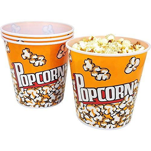 com-four 4X Cubo de Palomitas para el Cine en casa - Bol de Palomitas de maíz, Cada uno con una Capacidad de 2,8 litros (04 Piezas)