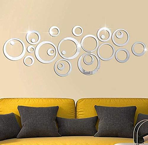 Dusenly - Pegatinas 3D de cristal para pared, acrílico, espejo, círculo, decoración de pared, dormitorio, salón, 24 unidades, color plateado