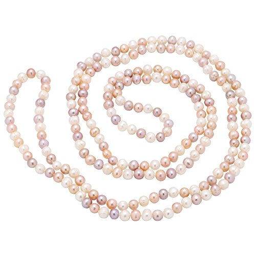 Lange Kette aus Perlen Süßwasserperlen multicolor weiß rosa violett endlos Perlenkette für Damen