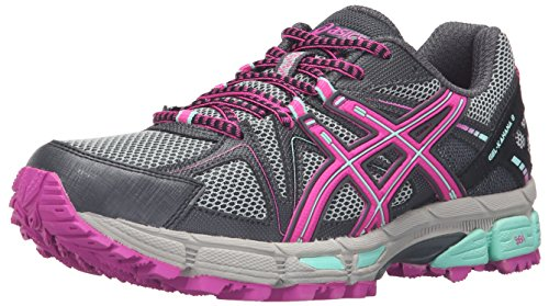 ASICS Women's Gel-Kahana 8 Trail Runner, Dark Steel/Pink Glow/Mint, 7.5 M US