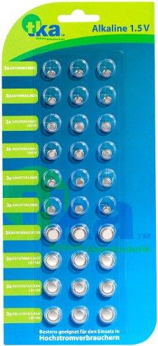 tka Köbele Akkutechnik Knopfzellen Sortiment: Knopfzellen, 30er-Sparpaket,LR41/ LR43/ LR44/ LR621/ LR626/ LR1130 (Knopfzellenbatterien)