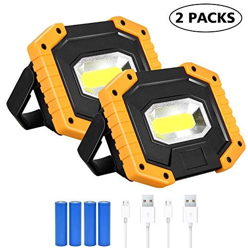 30W LED Arbeitsstrahler, T-SUN Baustrahler Akku tragbares wasserdichter Arbeitslicht mit 4*Wiederaufladbare Batterien, USB, 3 Lichtmodi für Baustelle Garage Werkstatt(2 pack)