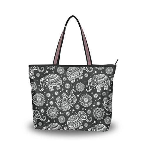Leila Marcus Damen-Handtasche mit Tragegriff, Vintage-Stil, indisch, Lotus, ethnisch, Elefantenmuster