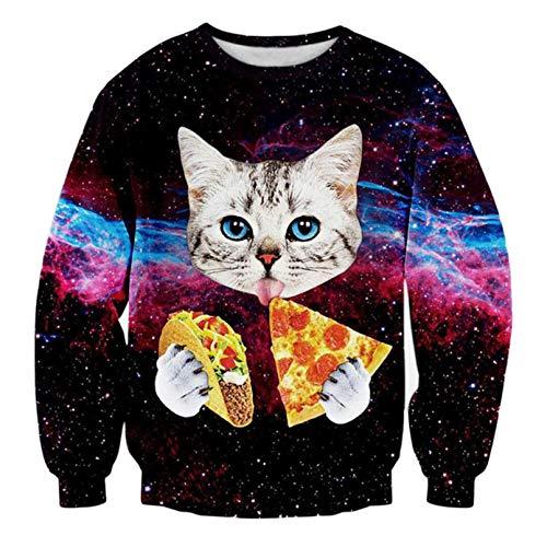 Hombre Divertidos Sudaderas Galaxy Animal Gato Impresas Impresas Sudaderas Sooplevers Homme Fashion Streetwear Ropa Unisex Cat Hoodies 3XL