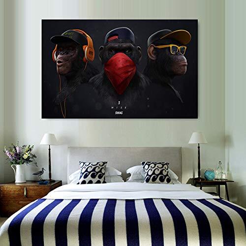 ganlanshu Farbe Orang-Utan Tier Kopfhörer AFFE Dekoration Leinwand Kunst Malerei Leinwand Familie Wanddekoration,Rahmenlose Malerei,60x85cm