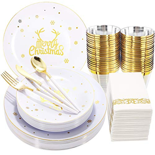 Nervure 175pcs White and Gold Disposable Plates&Gold Plastic Silverware with White Handle for Christmas