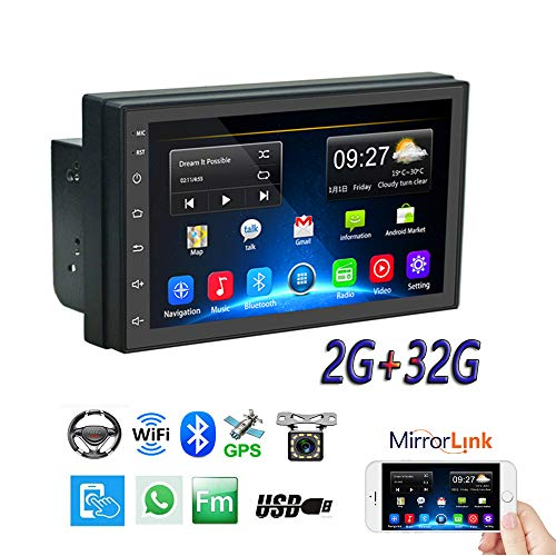 """Double Din Car Radio GPS Navigation 2G+32G Android Head Unit 7"""" HD Touch Screen Indash Car Stereo Support Dual USB, AUX in, Bluetooth, WiFi, FM, Mirror Link with Rear Camera"""