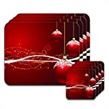 Fancy A Snuggle Deep Red Christmas Baubles with Snow on Top Set of 4 Placemat & Coasters