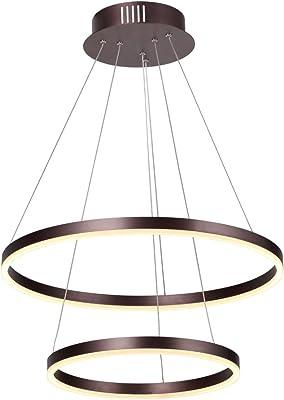 Interfan Lámpara Colgante Doble, 90 W, Marrón, 60x60x120 cm