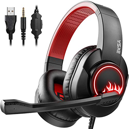 EKSA T8 Stereo Gaming Headphones for PS4 PC Xbox One PS5 Controller, Noise Cancelling Over Ear Headphones with Mic, LED Light, Bass Surround, Soft Memory Earmuffs for Laptop Mac Nintendo NES Games