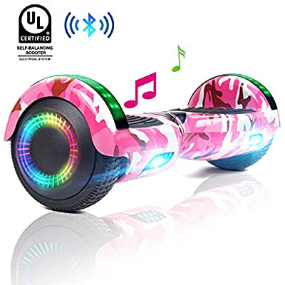 "Spadger 6.5"" Hoverboard Self Balancing Hoverboards Electric Scooters for Kids Adults Built- in Bluetooth Speaker and Flash Wheel Lights"
