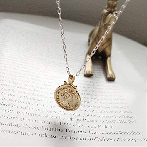 BACKZY MXJP Collar con Colgante De Estatuilla De Seis Peniques De Luna Plateada, Collar Redondo Dorado para Mujer, Joyería con Dijes