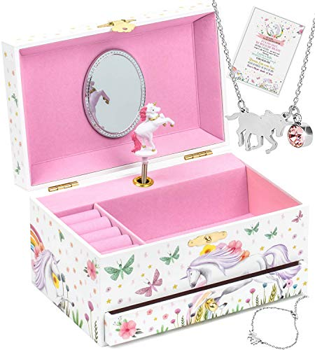 Tilly & Co Unicorn Jewelry Box for Girls, 3 Unicorn Gifts for Girls, Girls Jewelry Box & Girls Jewelry Set, Musical Jewelry Box for Girls & Unicorn Jewelry for Girls
